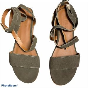 Able Suede ankle wrap platform sandals olive 10